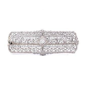 Filigree Diamond Brooch