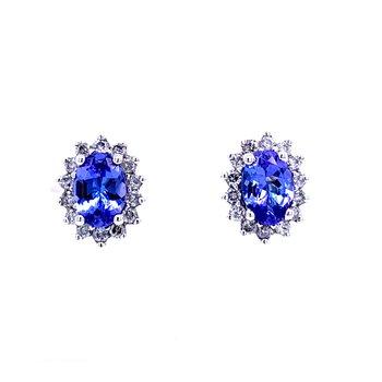 Oval Tanzanite Studs with Halo Diamonds