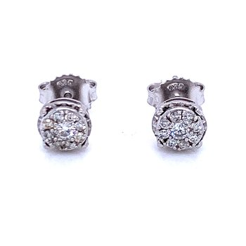 1/3ctw Diamond Cluster Earrings-LG