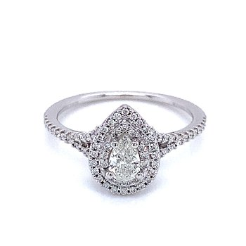 Romance Double Halo Pear Shape Engagement Ring