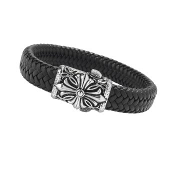 Woven Black Leather & Silver Cross Bracelet