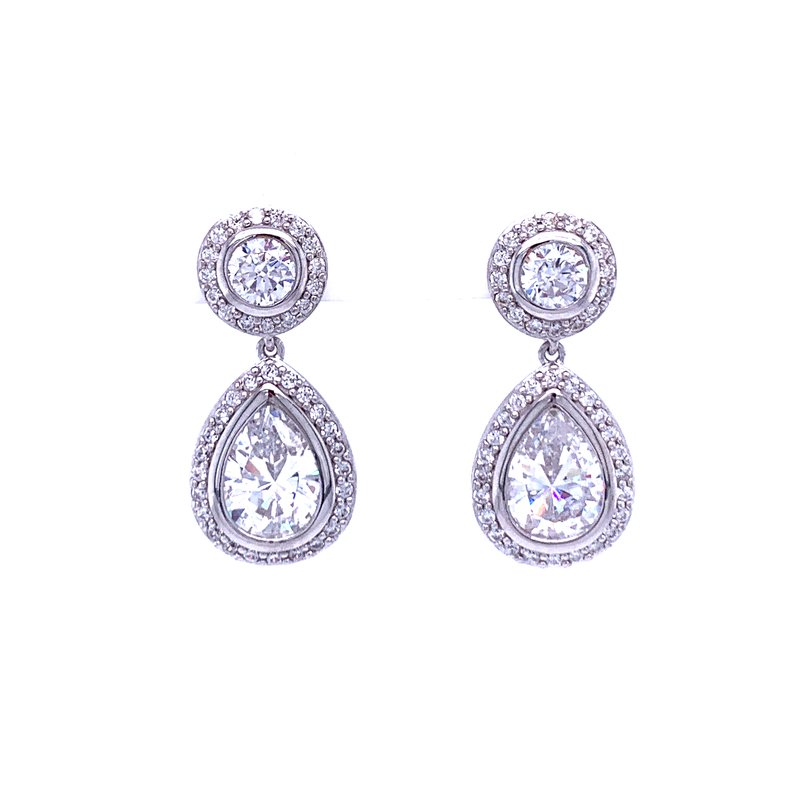 Bryan Beauties Pear Shaped Dangles with Sparkling Halos