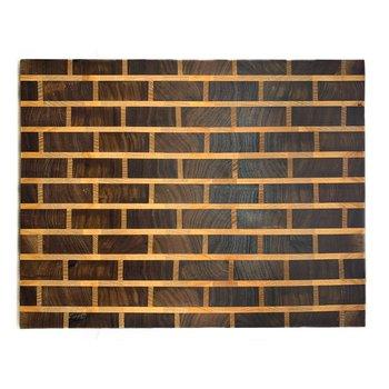 Walnut and Maple Brick Pattern Wooden Serving Board