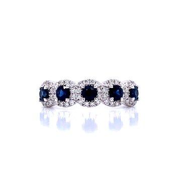 Diamond Halo Framed Sapphire Band