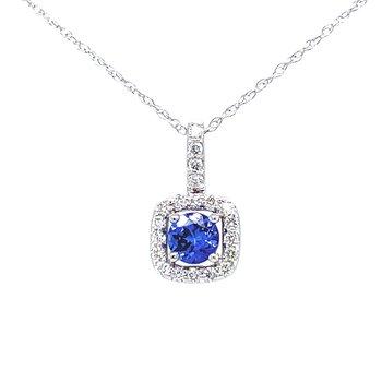 Tanzanite & Diamond Halo Pendant