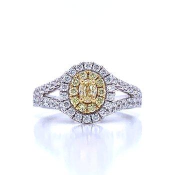 Sun's Glow Oval Halo Diamond Ring