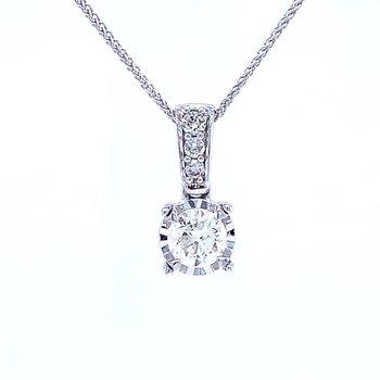 Tru-reflections Solitaire Diamond Pendant 1/2ctw