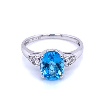 Swiss Blue Topaz & Diamond Ring