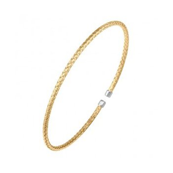 Sterling Silver 2mm Mesh Cuff, 2 Tone, 18K Yellow Gold and Rhodium Finish