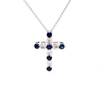Eleven Stone Sapphire & Diamond Cross