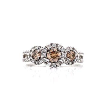 Three Diamond Ring with Champagne Diamond Centers