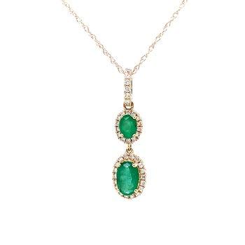 Double Down Emerald & Diamond Pendant