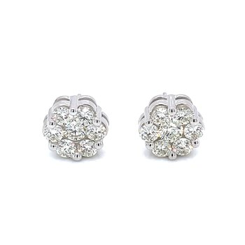 Flower Cluster Earrings 1 1/2ctw 10kw