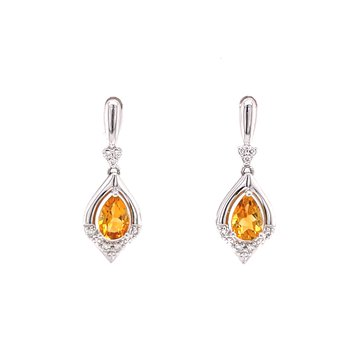 Glowing Citrine Dangles with Diamonds