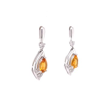 Glowing Citrine Dangles with Diamonds
