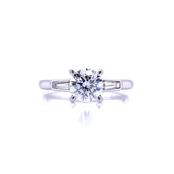 Three-Stone Round Diamond Engagement Ring With Tapered Baguettes
