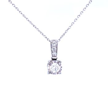 Tru-reflections Solitaire Diamond Pendant 1/4ctw