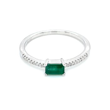 Stackable Style Emerald & .05ct Diamond Ring