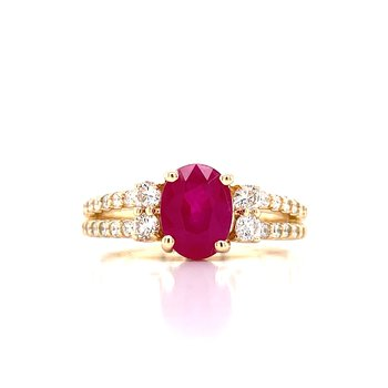 Dynamic Ruby and Diamond Ring