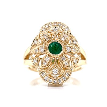 Vintage Style Filigree Emerald & Diamond Ring