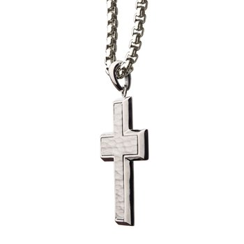 Matte Stainless Steel Short Cross Pendant with Steel Box Chain