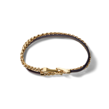 Brown Leather Double Wrap Bracelet - Yellow Plated