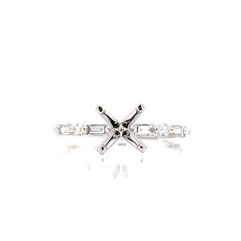 Baguette & Round Diamond Semi-mount-14kw