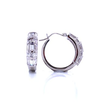 Baguette & Round CZ Hoops