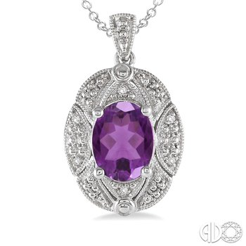 Amethyst Pendant with Diamond Accents