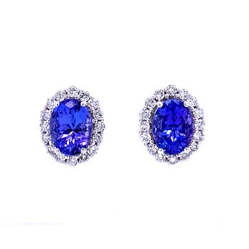 Tanzanite Gemstone Earrings with Diamond Halos