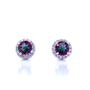Mystic Topaz and Diamond Halo Studs