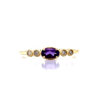 Sideways Amethyst Ring