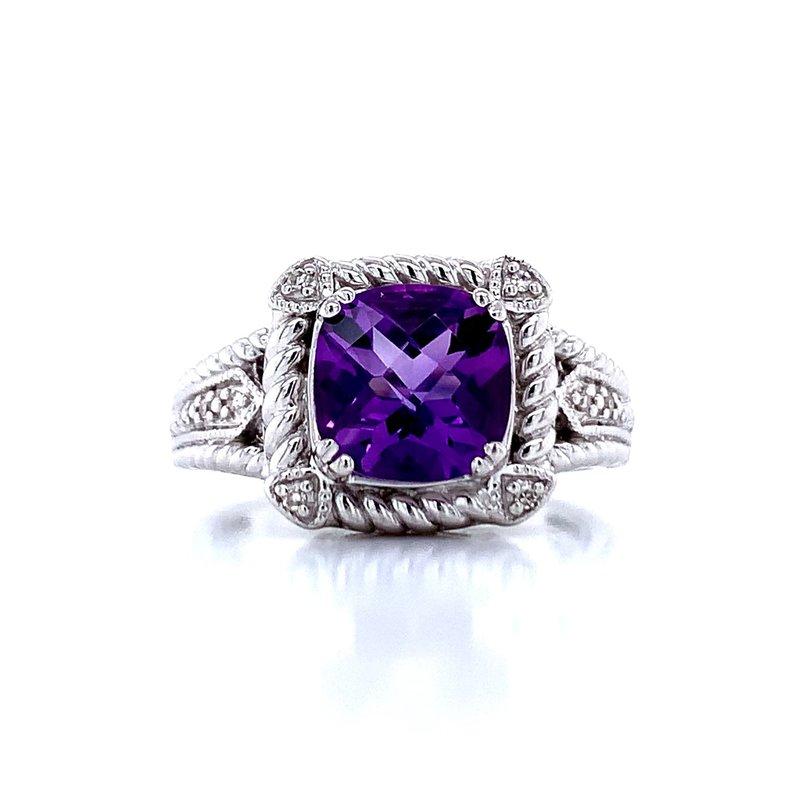 Bryan Beauties Cushion Cut Amethyst & Diamond Ring
