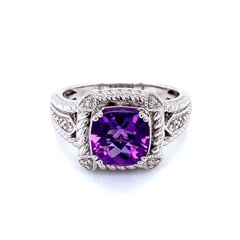 Cushion Cut Amethyst & Diamond Ring