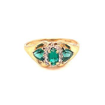 Created Emerald Three Stone Ring