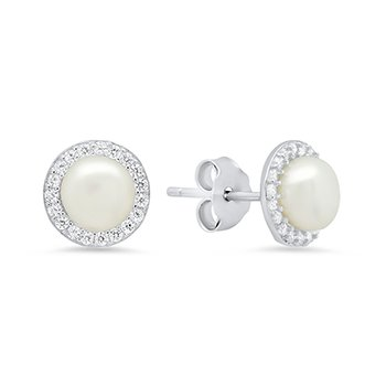 6mm Pearl Stud with CZ halo