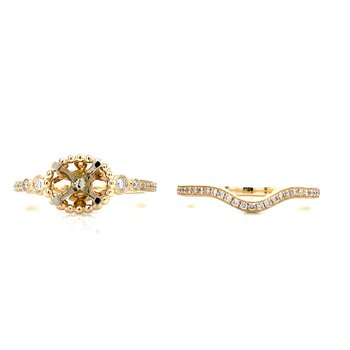 East West Oval Framed Semi-mount Wedding Set