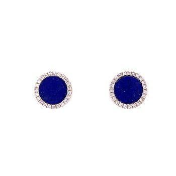 Lapis Lazuli  Studs with Diamond Halo