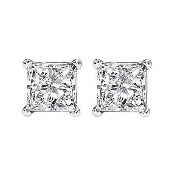 Princess cut Diamond Earrings 1 1/2ctw