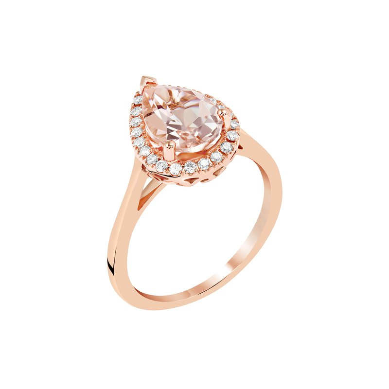 Bryan Beauties Pear shaped Morganite Ring with Halo in Rose