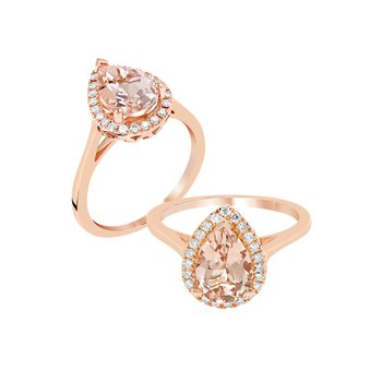 Pear shaped Morganite Ring with Halo in Rose
