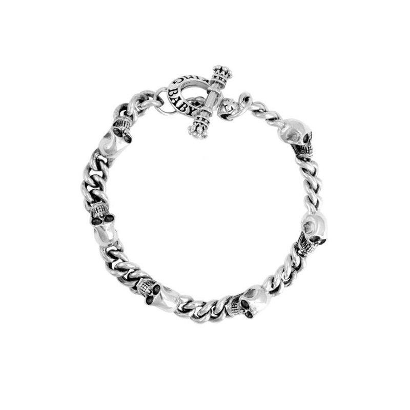 King Baby 2mm Chain Bracelet w/Integrated Skulls