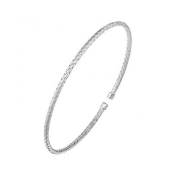 Sterling Silver 2mm Mesh Cuff, Rhodium Finish