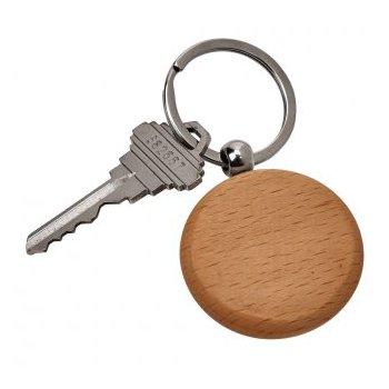 Round Wood Key Chain