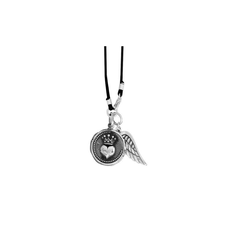 King Baby Large Heart Coin w/Wing on Braided Cord