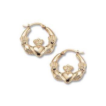 Claddaugh Hoop Earrings 14k y