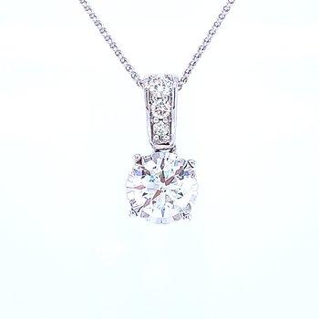 Tru-refelections Solitaire Diamond Pendant 3/4ctw