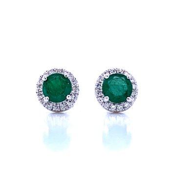Emerald and Diamond Halo Studs