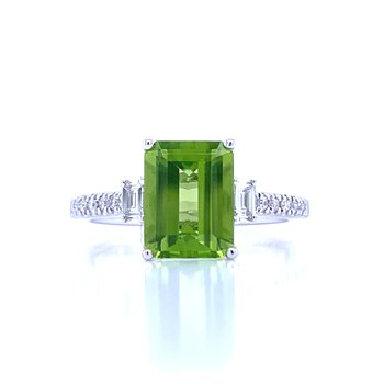 Emerald Cut Peridot & Diamond Ring