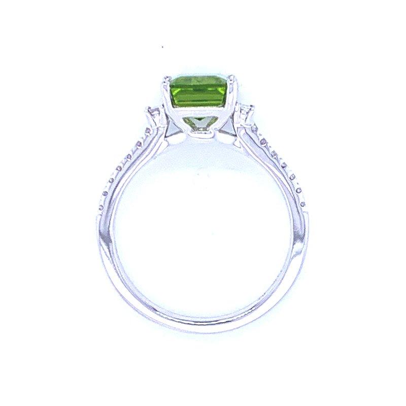 Bryan Beauties Emerald Cut Peridot & Diamond Ring
